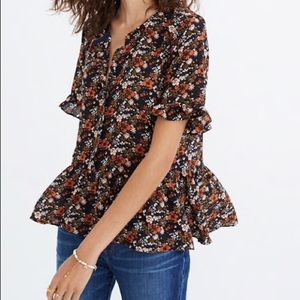 Madewell Silk Studio Ruffle-Hem Top In Floral